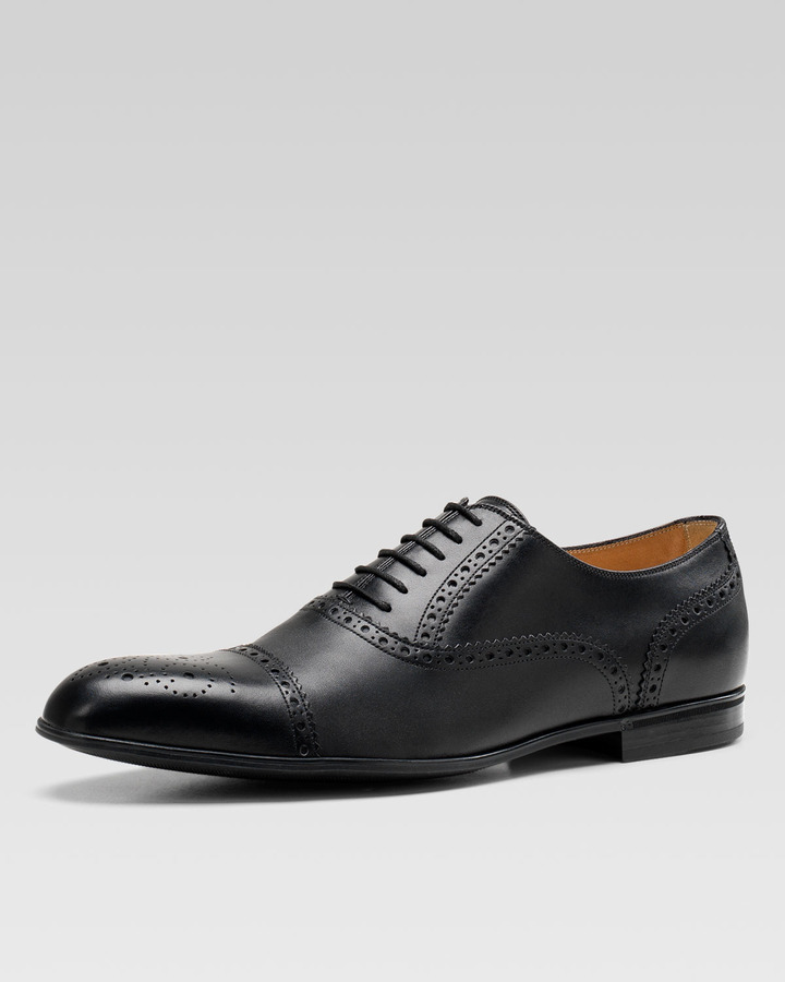 5bc2412fe Gucci Chiaia Brogue Leather Lace Up Shoe Black, $525 | Neiman Marcus ...