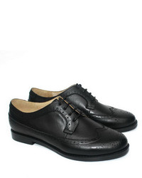 ChicNova Vintage Black Leather Cut Out Brogues