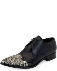 Alexander McQueen Embellished Wing Tip Pointed Toe Oxford Black