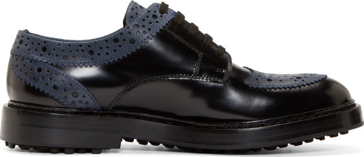 d2479d6772 ... Kris Van Assche Krisvanassche Black Leather Brogued Shoes ...