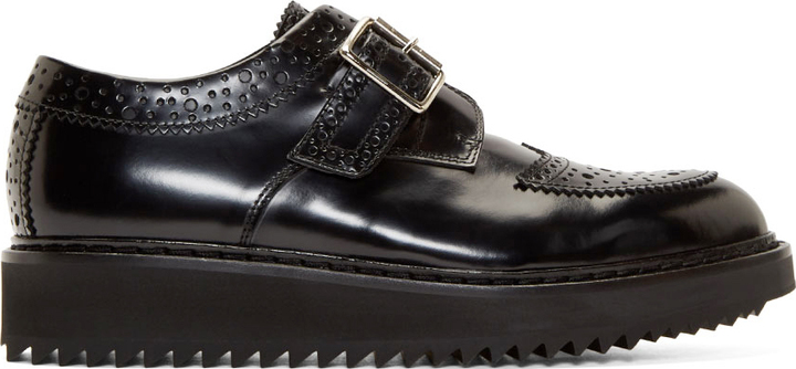 339211c57e ... Kris Van Assche Krisvanassche Black Polished Leather Creeper Brogues ...