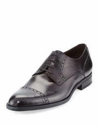 Leather cap toe derby shoe black medium 1246399