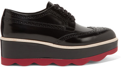 13515113cf6d ... Prada Leather Platform Brogues Black ...