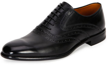 Bally Perforated Calfskin Leather Dress Shoe Black