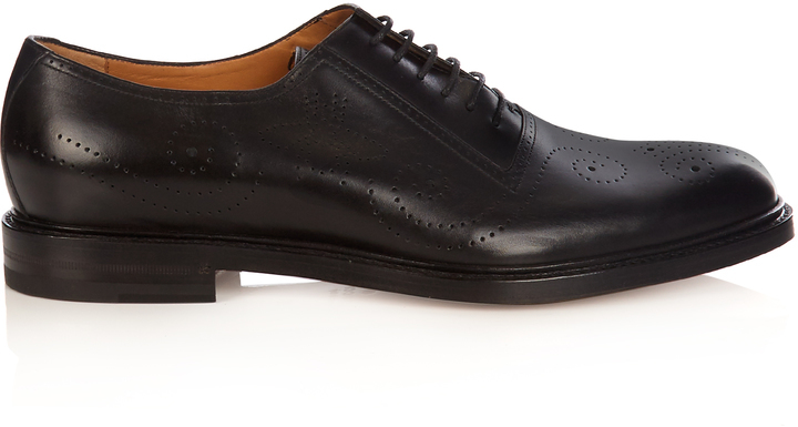 ... Gucci Perforated Lace Up Leather Brogues