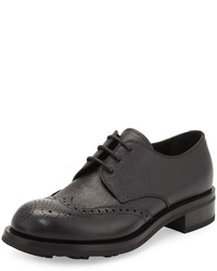 Prada Spazzolato Wing Tip Leather Lace Up Black