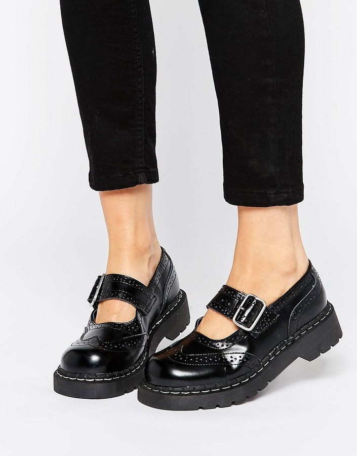 7499eb8d1e5 ... T.U.K. Wingtip Brogues Mary Jane Chunky Leather Flat Shoes ...