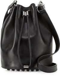 Alexander Wang Alpha Woven Napa Leather Bucket Bag Black