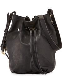 Kooba Bella Small Grained Leather Bucket Bag Black