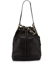 Foley + Corinna Billy Leather Bucket Shoulder Bag Black