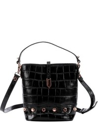 Treesje Black Croc Embossed Leather Small Candice Bucket Bag