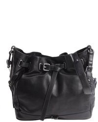Kooba Black Leather Drawstring Aubrey Bucket Bag