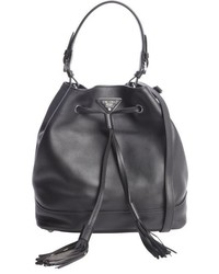 Prada Black Leather Large Bucket Bag