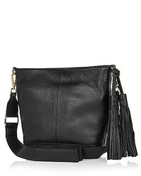 River Island Black Leather Tassel Bucket Bag