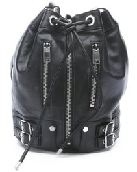 Saint Laurent Black Leather Zip Expandable Bucket Bag
