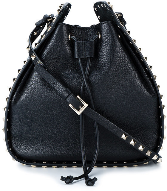 Valentino Black Rockstud Large Leather Bucket Bag