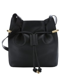 Chloé Chloe Black Leather Emma Medium Drawstring Bucket Bag