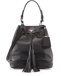Prada City Calf Bucket Bag Black
