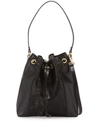 Foley + Corinna Clio Laser Cut Leather Bucket Bag Black