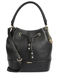 DKNY Drawstring Pebbled Leather Bucket Bag