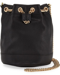 Neiman Marcus Faux Leather Chain Bucket Bag Black