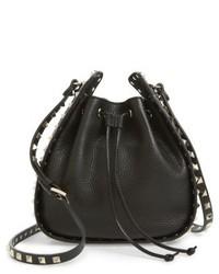 Valentino Garavani Rockstud Leather Bucket Bag Black
