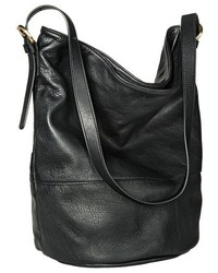 Merona Genuine Leather Bucket Handbag Black