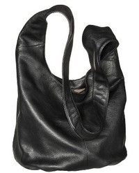 Merona Genuine Leather Crossbody Bucket Handbag Black