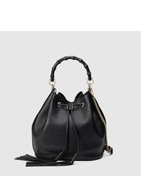 Gucci Miss Bamboo Leather Bucket Bag