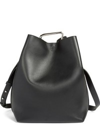 Large quill leather bucket bag black medium 784911