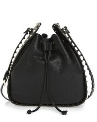 Valentino Large Rockstud Leather Bucket Bag Black