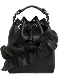 MSGM Leather Bucket Bag W Ruffle Details