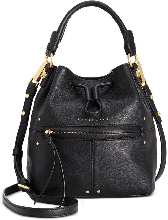 Black Leather Bucket Bags Sanctuary Drawstring Small Bag