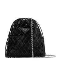 Prada Macram Leather And Satin Bucket Bag