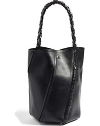 Proenza Schouler Medium Hex Whipstitch Leather Bucket Bag Black