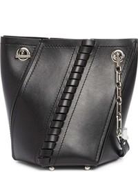 Proenza Schouler Mini Hex Whipstitch Leather Bucket Bag Black
