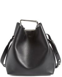 3.1 Phillip Lim Mini Quill Leather Bucket Bag Black