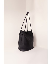 Missguided Circular Minimal Bucket Bag Black