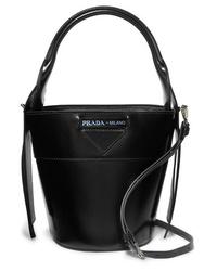 Prada Overture Embossed Glossed Leather Bucket Bag
