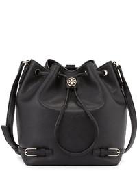 Tory Burch Robinson Leather Bucket Bag Black