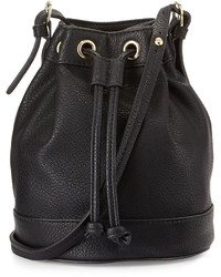 Neiman Marcus Sierra Drawstring Bucket Bag Black
