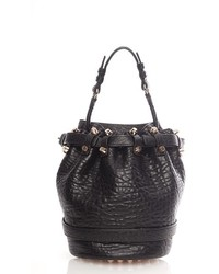 Small diego rose gold leather bucket bag black medium 275975