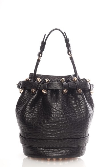 Alexander Wang Small Diego Rose Gold Leather Bucket Bag Black