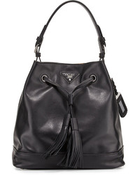 Prada Soft Calf Bucket Bag Blacktan