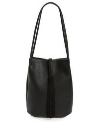 Street Level Faux Leather Bucket Bag Black