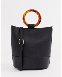 New Look Structured Round Handle Bucket Bag In Black