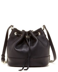 Susu Ava Black Leather Bucket Bag Drawstring