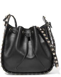 Valentino The Rockstud Bucket Leather Shoulder Bag Black