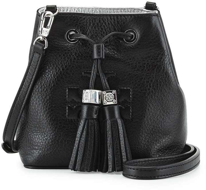 d000e3e84eb32 ... Leather Bucket Bags Tory Burch Thea Mini Crossbody Bucket Bag Black ...