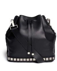 Tomasini Large Mirror Squares Leather Bucket Bag
